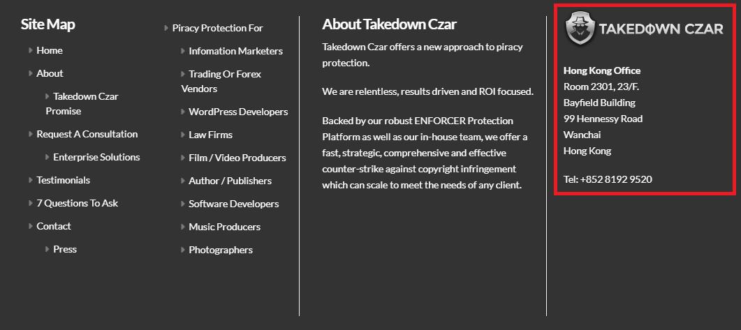 Takedown Czar website