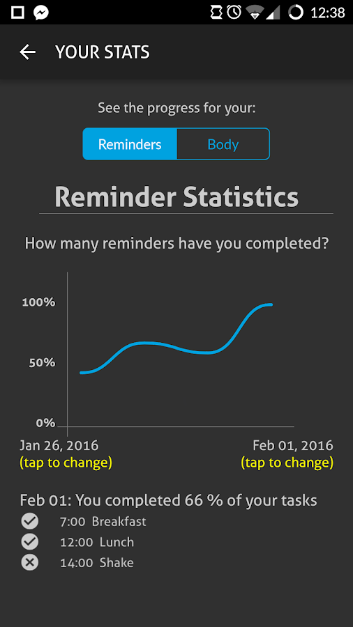 SmartShake Diet Planner- screenshot
