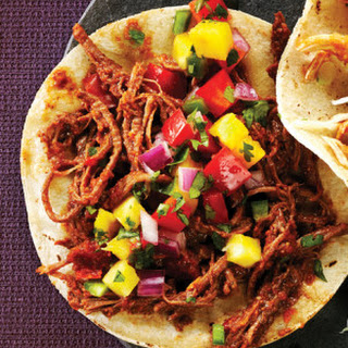 Spicy Shredded Beef Tacos with Pineapple Salsa