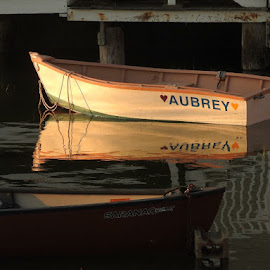 Aubrey by Ann Goldman - Novices Only Objects & Still Life ( sunset, rowboat, reflecting,  )