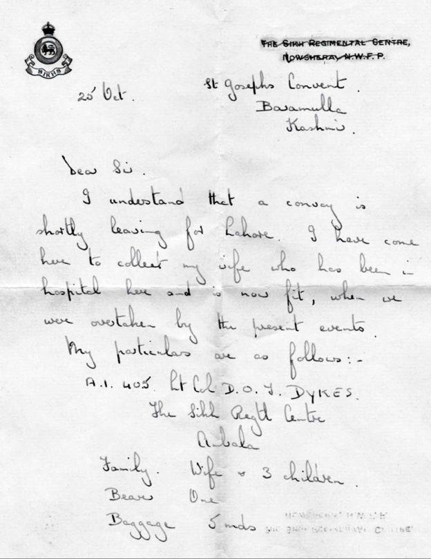 Письмо Тома Дайкса (любезно предоставлено Фионой Шипли)
