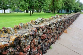 Photo: Stone wall along Arthur St., Stanton, ND
