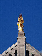 Photo: Statue of St. Anne holding the infant Mary atop Saint Anne De' Beaupre Basilica...Impasto Effect