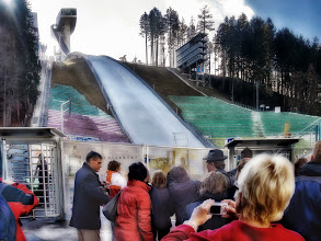 Photo: Our tour group waits for the tram that will carry us up the slope, where we will have lunch in the restaurant at the top of the Olympic ski jump - February 2008