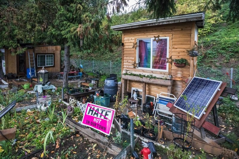 TRIBUNE PHOTO: JONATHAN HOUSE - Hazelnut Grove residents have gotten creative with their spaces on the land in North Portland's Overlook neighborhood.