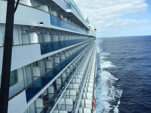 view-of-balconies-from-Ruby-Princess-bridge - Here's what the ship captain and his crew members can see from the bridge of Ruby Princess.
