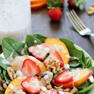 Spinach Salad with Strawberries, Peaches, Candied Walnuts, Goat Cheese & Poppyseed Dressing
