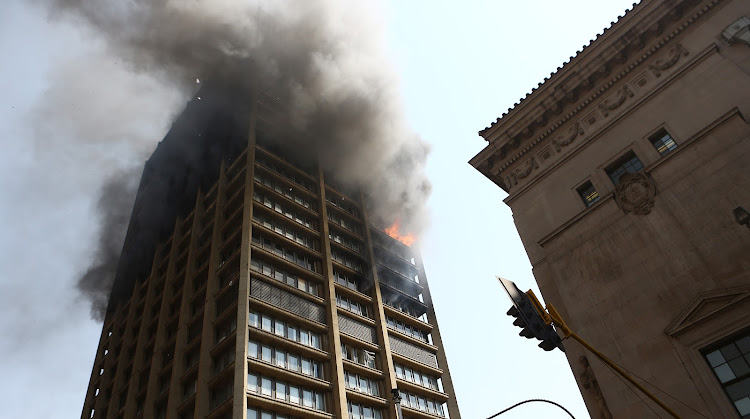 Flames spread through the building that houses three provincial departments in the Johannesburg CBD on September 6, 2018. File photo.