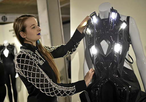 A creation by Dutch designer Anouk Wipprecht at the Fashiontech fashion exhibition during Berlin Fashion Week in Berlin, Germany.