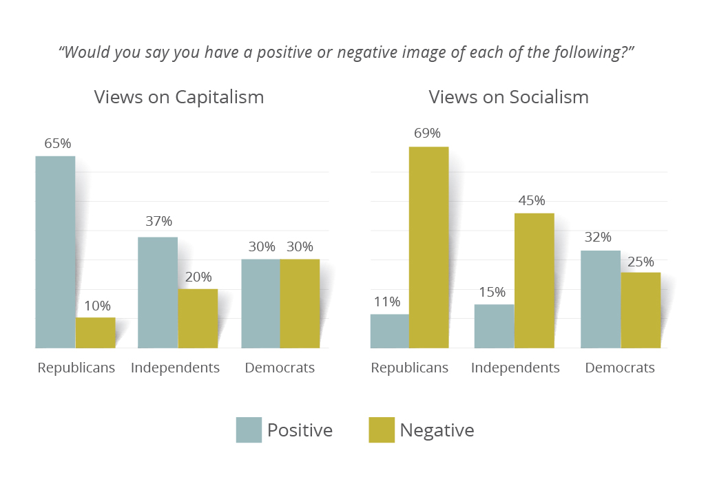 Meeting Street Insights graph on partisan breakdown of views on capitalism and socialism.
