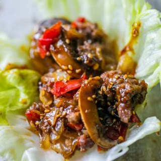 Sweet Chili Beef Slow Cooker Lettuce Wraps.