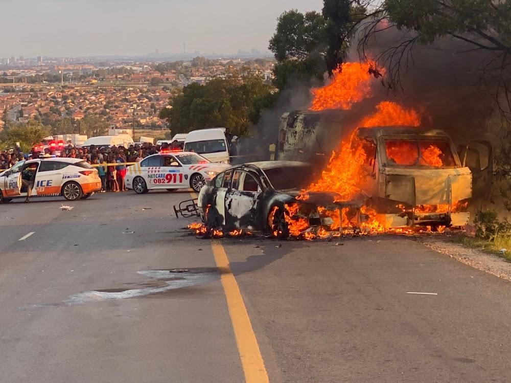 WATCH | Cash van set alight after brazen heist on Malibongwe Drive - TimesLIVE