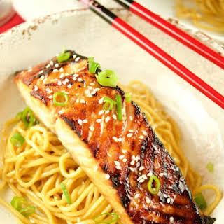 Miso Salmon Over Sesame Noodles.