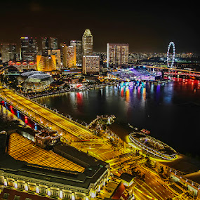 Marina Bay by CK Lam - Landscapes Starscapes ( city lights, night, marina bay, singapore, nightscape )