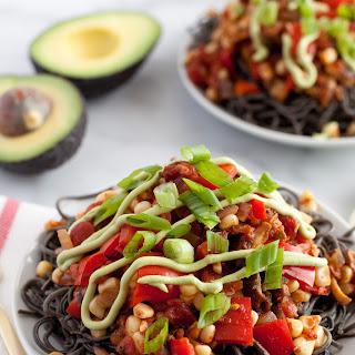 Southwestern Black Bean Spaghetti & Avocado Crema.