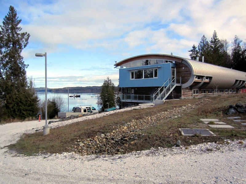 Photo: The clamshell-shaped new building of the Deep Bay Marine Field Station at Deep Bay, BC, Canada, opened in June 2011.