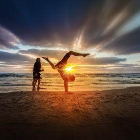 Kid's Play by Assi Dvilanski - Landscapes Sunsets & Sunrises ( sky, sunset, sea, kids, seascape, beach, sunlight, sun, kid )