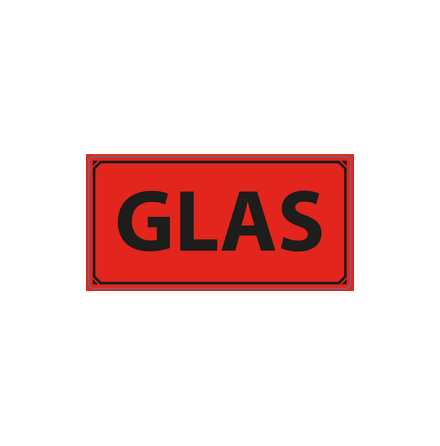 "Varningsetikett ""Glas"" 50x100mm, 1000st/rulle"