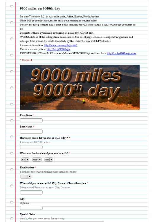 9000 miles on 9000th day