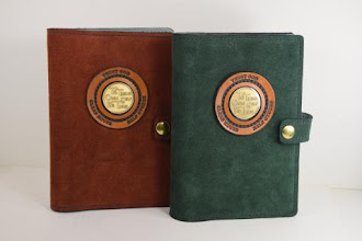 Photo: P0425 (left $49.95) Chrome Tanned Rust color Suede leather Portable Paperback Big Book (Medallion Holder and Snap & Strap)   P0425 (right $49.95) Chrome Tanned Green color Suede leather Portable Paperback Big Book (Medallion Holder and Snap & Strap)