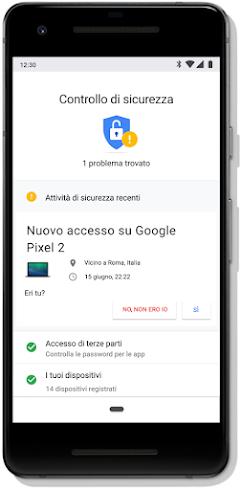 Schermata Controllo sicurezza dell'Account Google su un cellulare