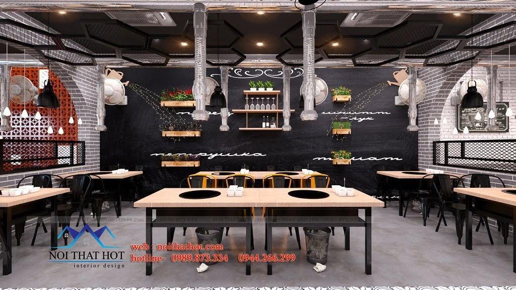 thiết kế nhà hàng lẩu nướng trẻ trung