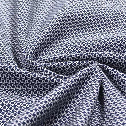 Småmönstrad Bomullspoplin - blå