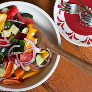 Summer Salad with Peppers, Tomatoes, Cucumbers, Red Onions