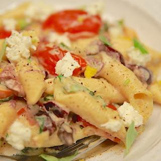 Summer Feta + Hummus Pasta Salad
