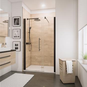 Porte de douche pivotante pour grande niche, style industriel, profilé noir