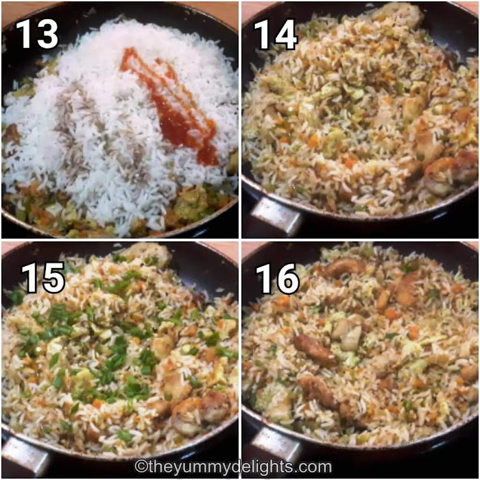 step by step collage of addition of sauces & spices to make chicken fried rice