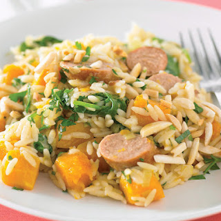 Orzo with Sausage, Squash and Leeks