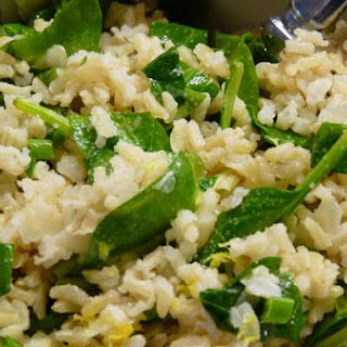 Lemony Brown Rice With Baby Spinach