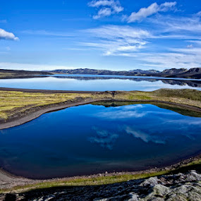 Blue Lake  by Þorsteinn Ásgeirsson - Landscapes Waterscapes ( water, mountains, reflection, blue, mosses, lake )