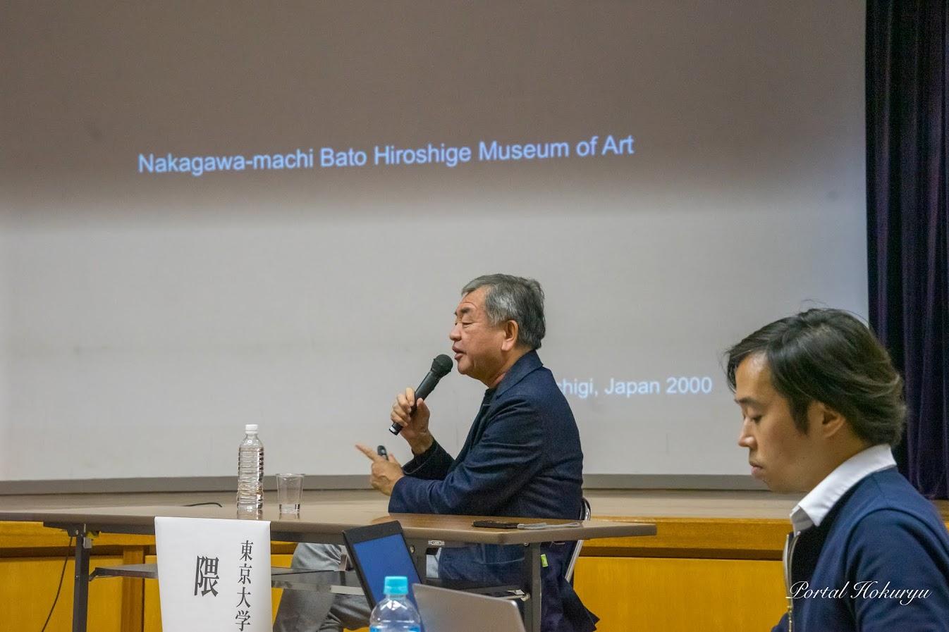 建築家・隈研吾氏(左)、隈研吾建築都市設計事務所・田口誉 設計室長(右)