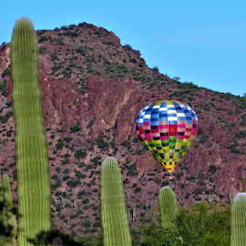 B is for Balloon. by Hal Gonzales - Transportation Other ( flight, balloon, mountain, rocks, cactus,  )