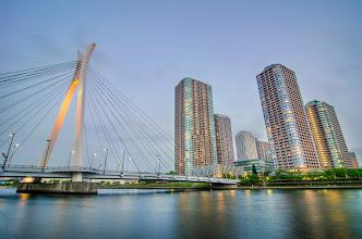 Photo: The Chuo Ohashi Bridge crossing from Tsukishima on Tokyo Bay