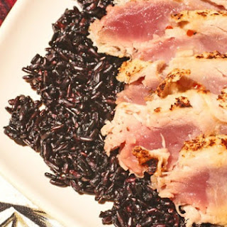 Seared Panko Encrusted Tuna on Black Rice.