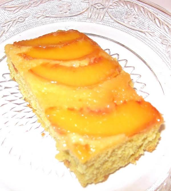 The Last Piece Of My Peach Upside Down Cake. I Had To Get A Picture Before It Completely Disappeared!