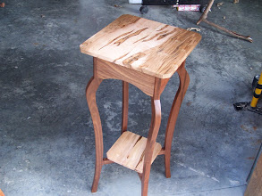 Photo: Plant stand.  Here's another stand using the same design as in the previous photo. Walnut and (you guessed it) spalted maple.