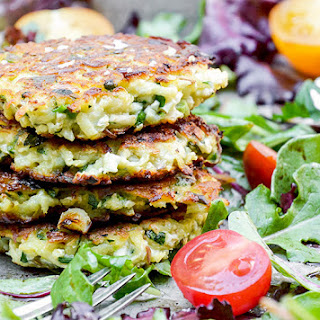 Cauliflower-Apple Fritters with Mixed Greens