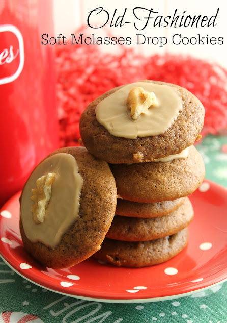 These Old Fashioned Soft Molasses Drop Cookies are topped with a maple glaze and a bit of walnut.