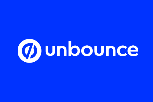 The Unbounce logo behind a blue background is part of the Unbounce vs LeadPages vs InstaPage article