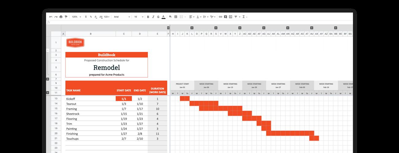 Construction Google Sheets Gantt chart template