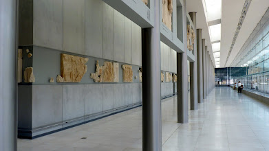 Photo: Has to be seen to be believed - schematic reconstruction of the frieze of the Parthenon on arectangular cement core that has exactly the same dimensions as the cella of the Parthenon
