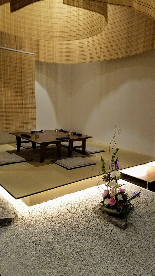 Interior of Chef Naoko's Shizuku, designed by Kengo Kuma