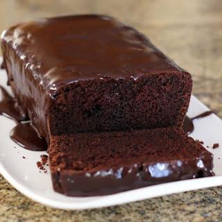 Chocolate Loaf Cake With Easy Chocolate Glaze.