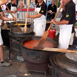Lugano, Ticino, Switzerland by Serguei Ouklonski - Food & Drink Cooking & Baking ( street, festival, autumn, cooking, people, food )