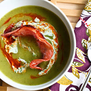 Poblano & Purple Potato Soup with Smoked Paprika Oil and Cilantro Yogurt.