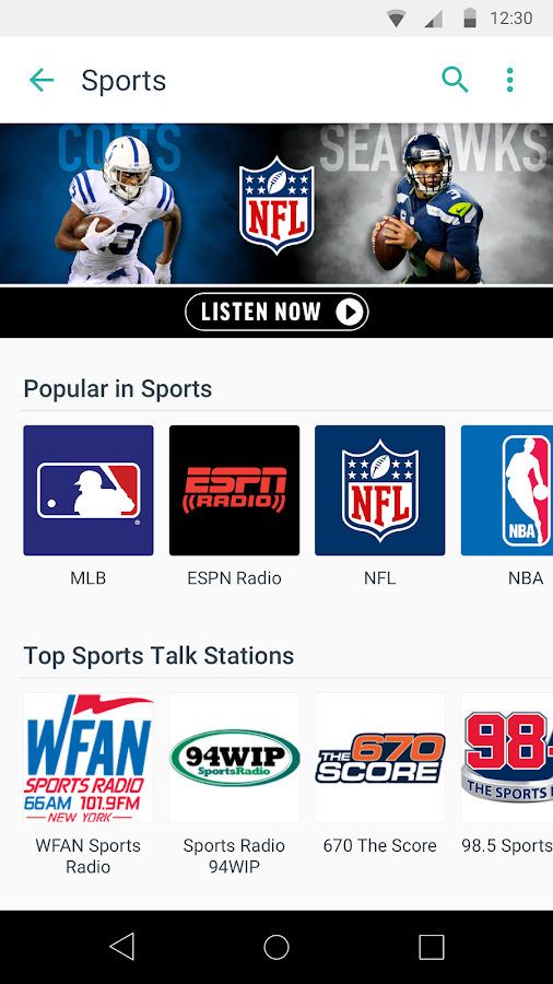 TuneIn: Stream NFL Radio, Music, Sports & Podcasts- screenshot